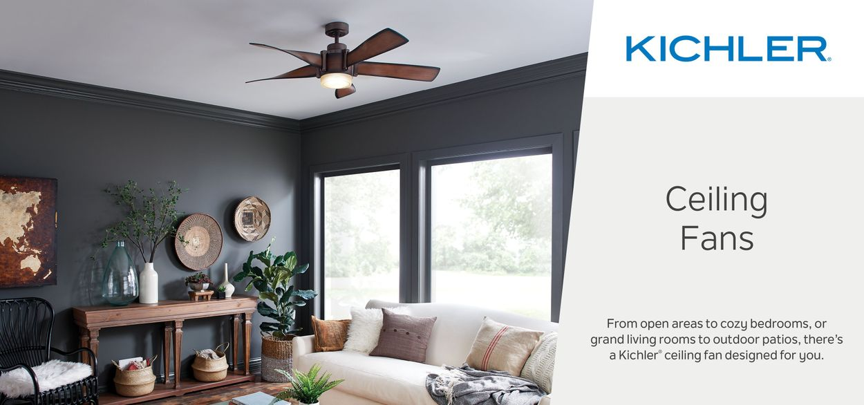 Kichler 56 In Satin Black With Antique Pewter Accents Indoor Ceiling Fan With Remote 2 Blade In The Ceiling Fans Department At Lowes Com