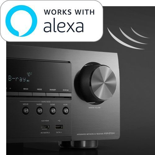 Picture of front of Receiver with Works with Alexa call out