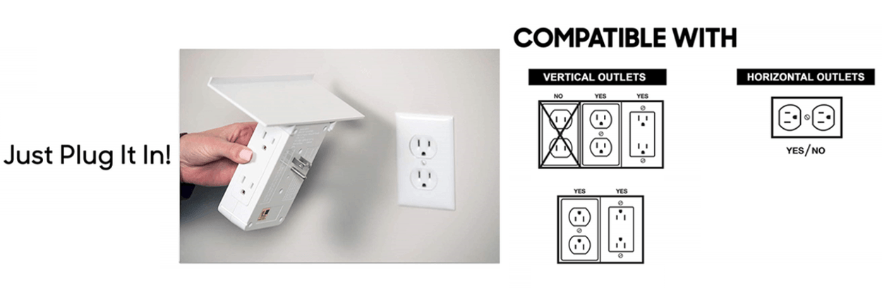 just plug it in! Compatible with vertical outlets no yes yes yes yes horizontal outlets yes/No