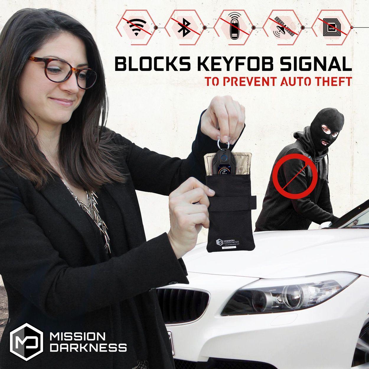 Blocks Keyfob signal, to prevent auto theft.