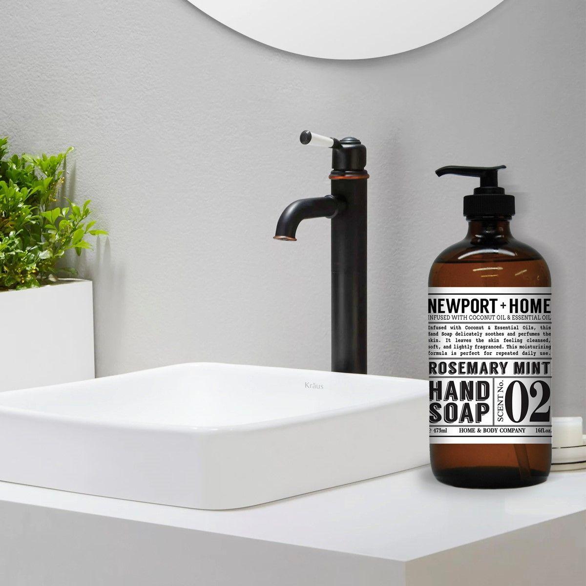 Newport hand soap bottle on top of sink