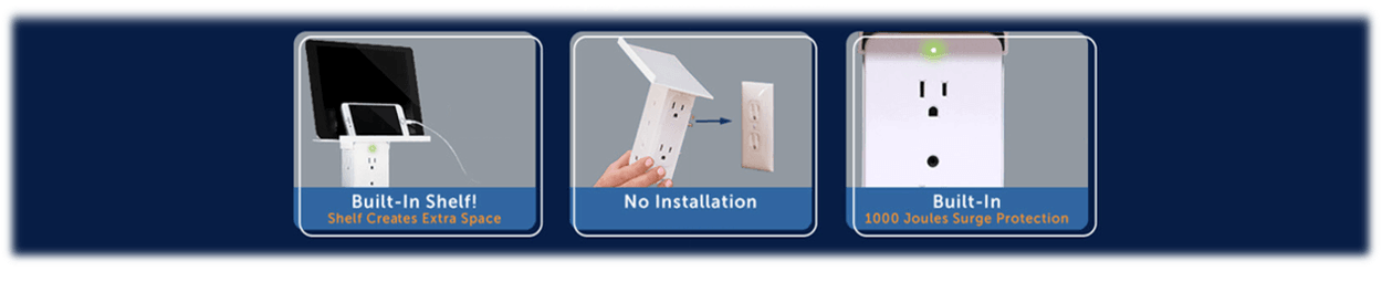 Built-in Shelf! Shelf creates extra space No installation Built-in 1000 Joules surge protection