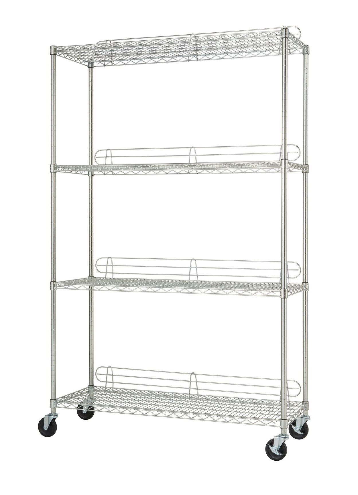 TRINITY 4-tier wire shelving rack with backstands and wheels