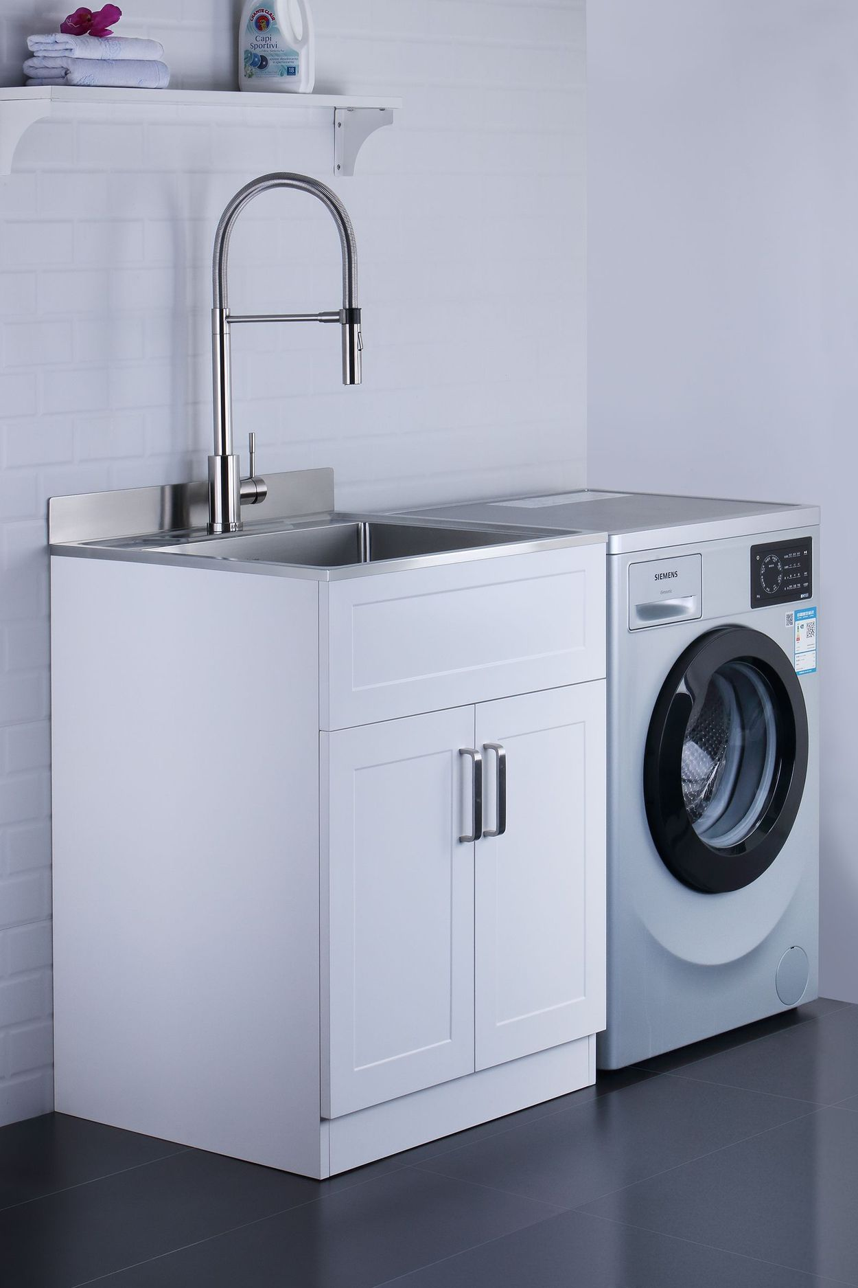 Picture of: Afa Stainless Steel Laundry Sink 25 X 22 With Faucet Cabinet