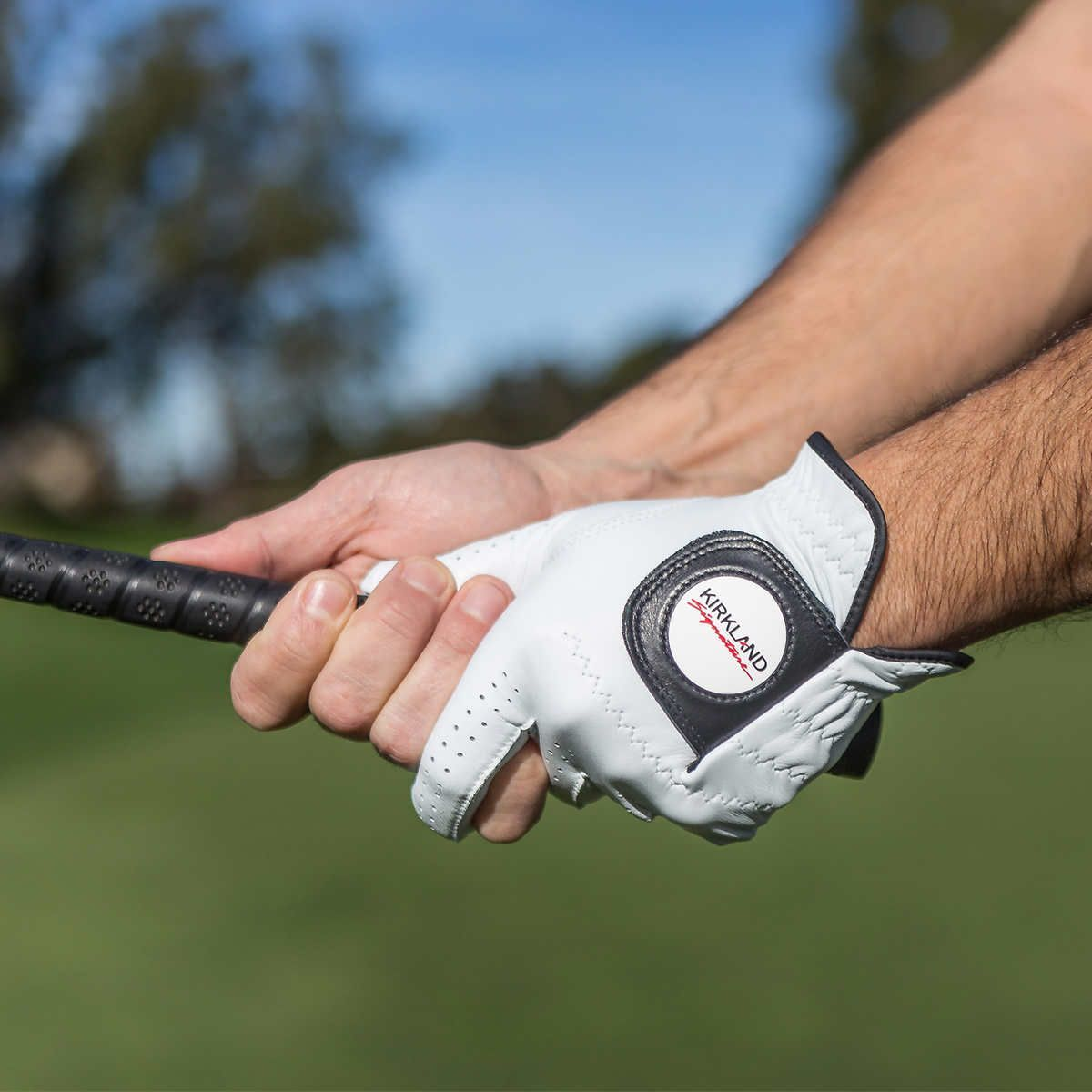 Kirkland signature premium cabretta leather golf glove lifestyle shot