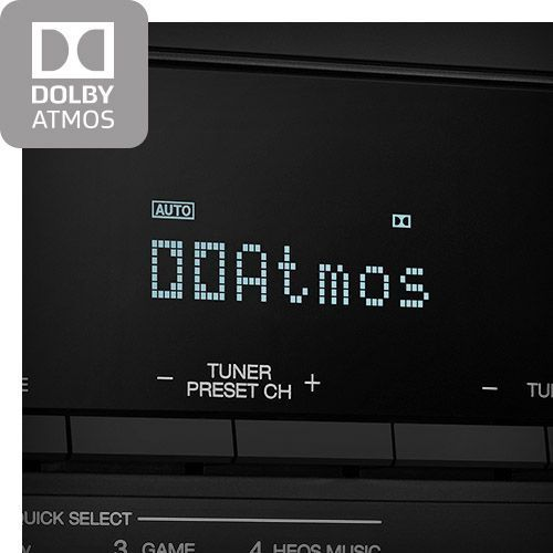 Close up of screen with Dolby Atmos feature shown