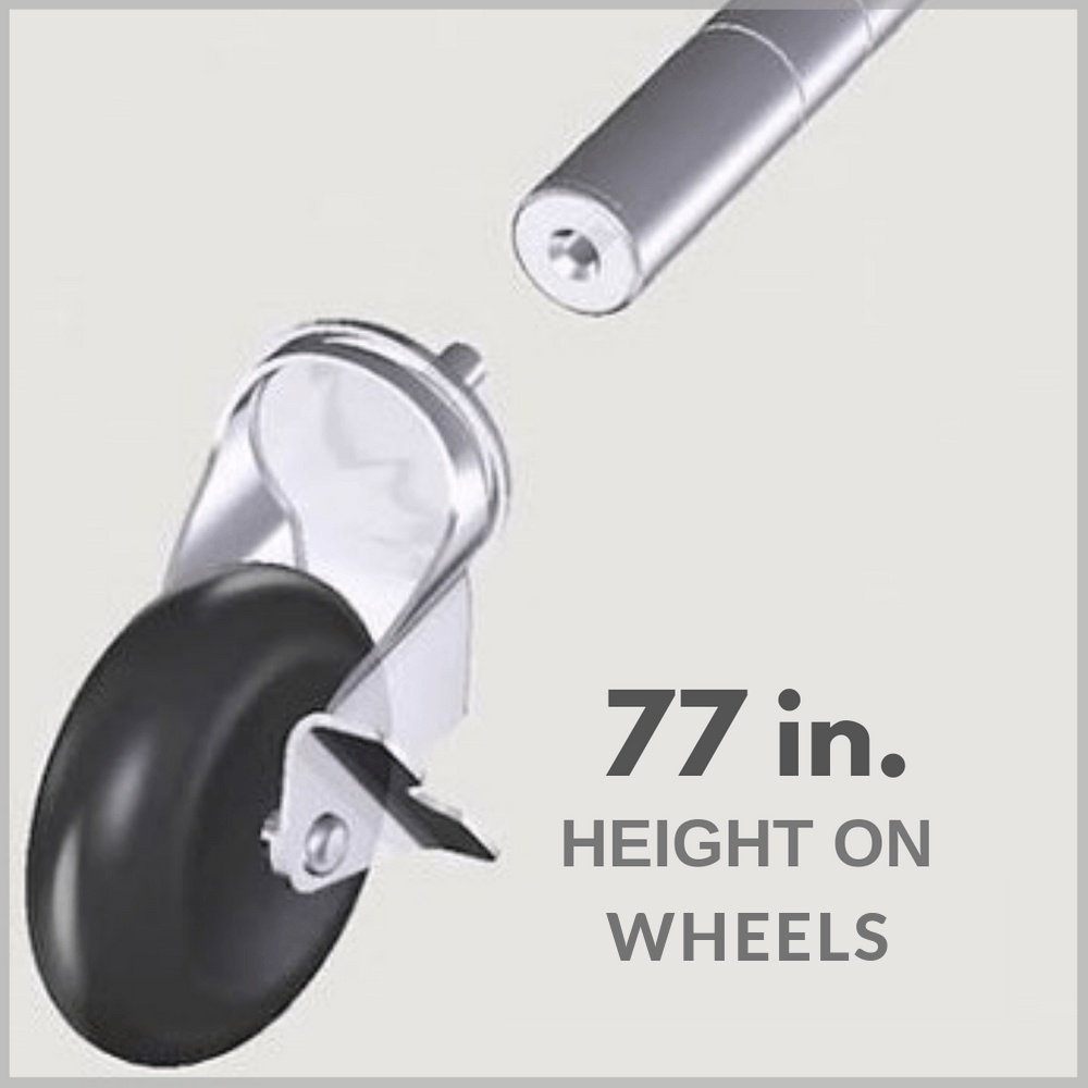 77 in. height on wheels