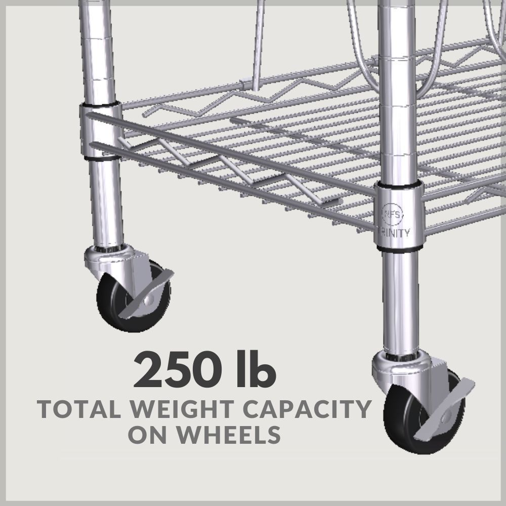 250 lb total weight capacity on wheels