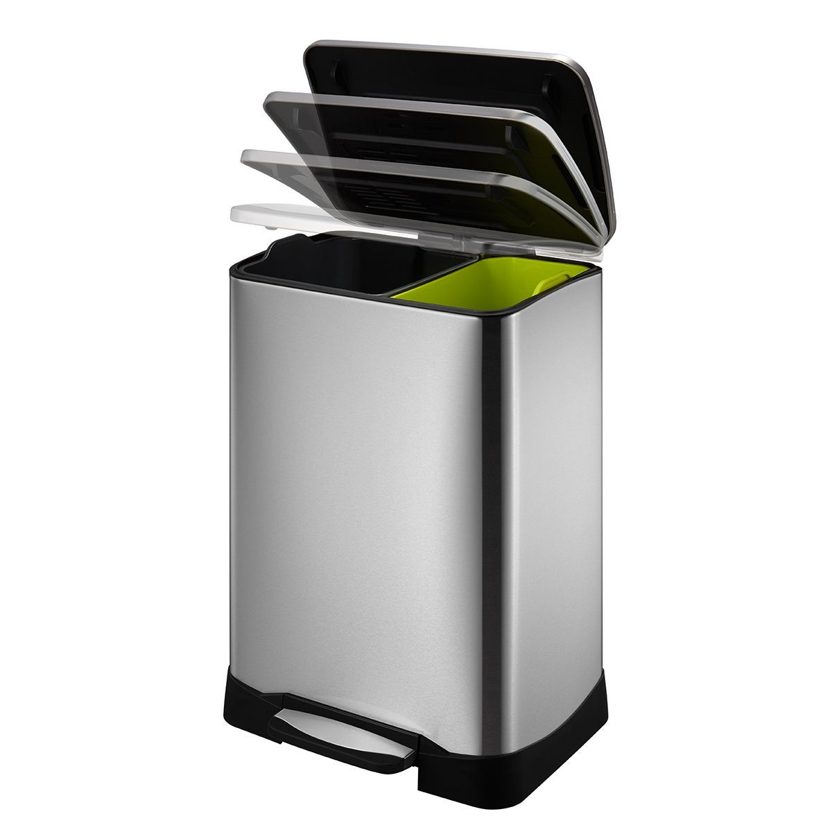 Neocube 50 Liter Dual Compartment 28 Liter And 18 Liter Stainless Steel Recycle And Trash Bin