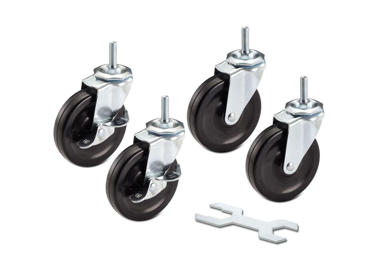 2 locking and 2 non locking wheels