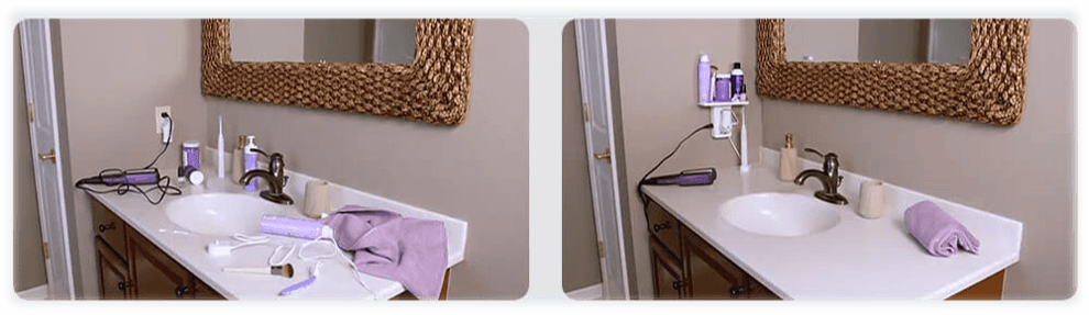 Shows the comparison of your bathroom counter before and after using the Socket Shelf.