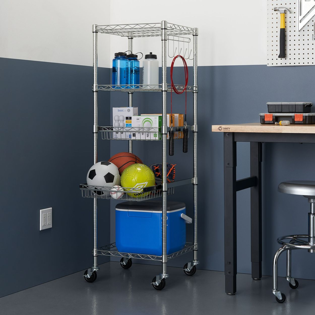 TRINITY Pantry rack with garage and play things used in the garage