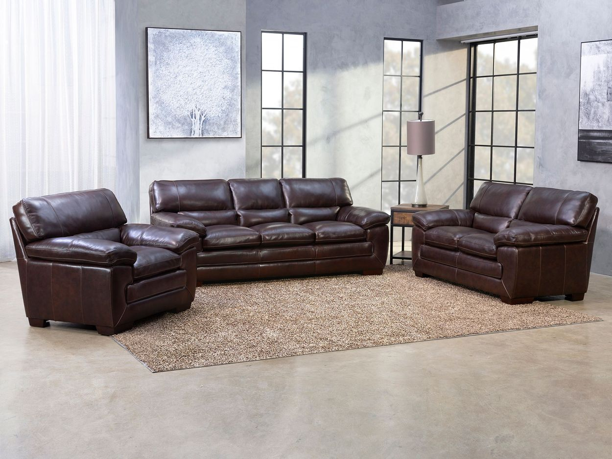Picture of: Richland 3 Piece Brown Leather Sofa Loveseat Chair Set