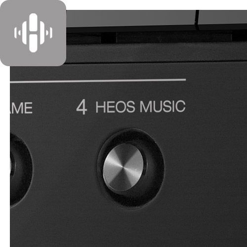Close up of HEOS Music button