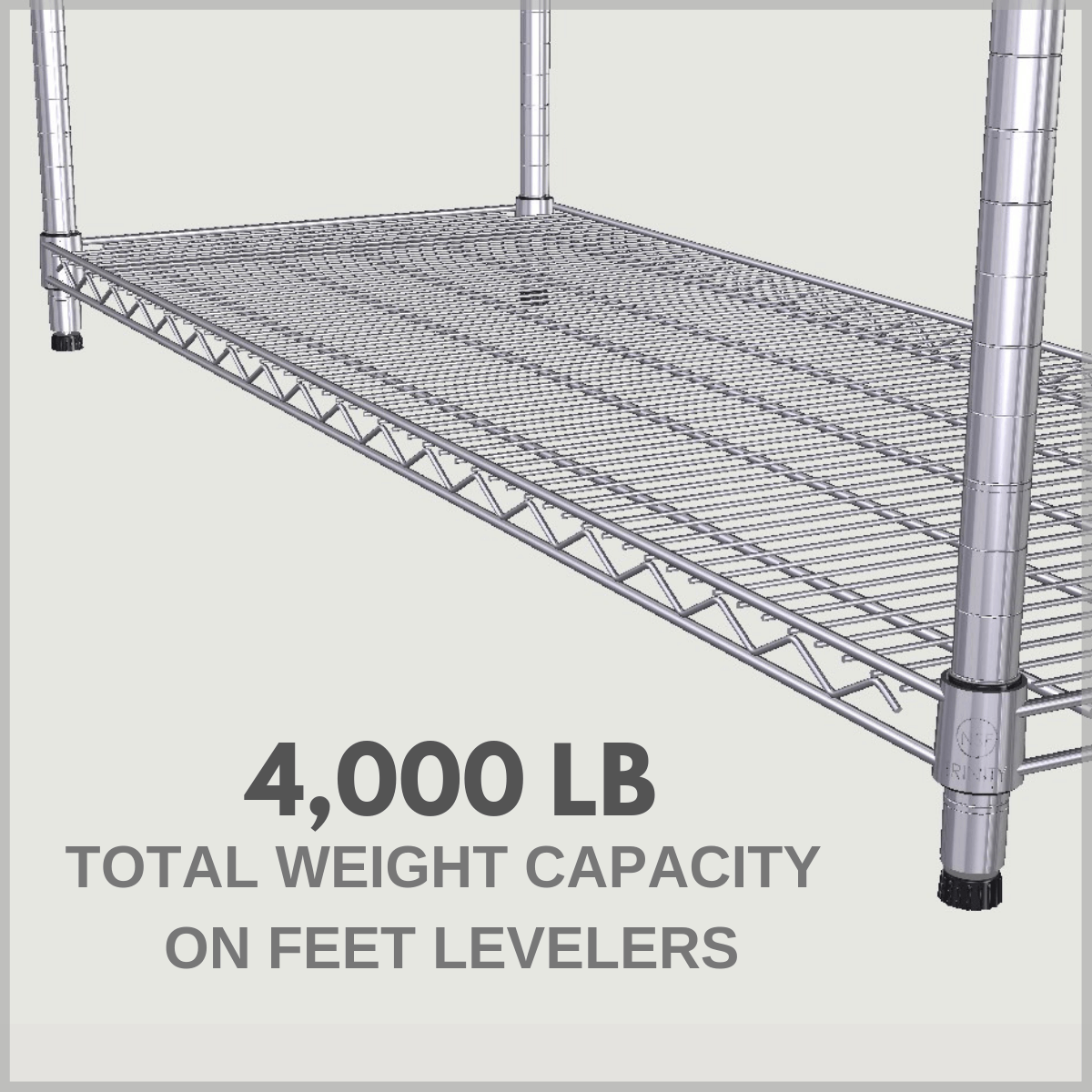 4,000 pound total weight capacity if feet levelers are installed