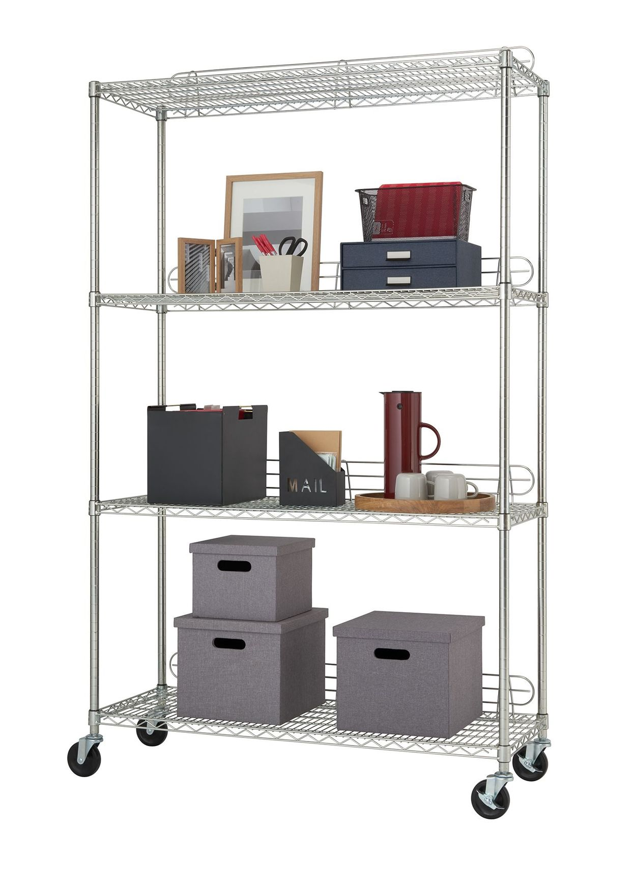4 tier wire shelving rack with backstands used as home office setting