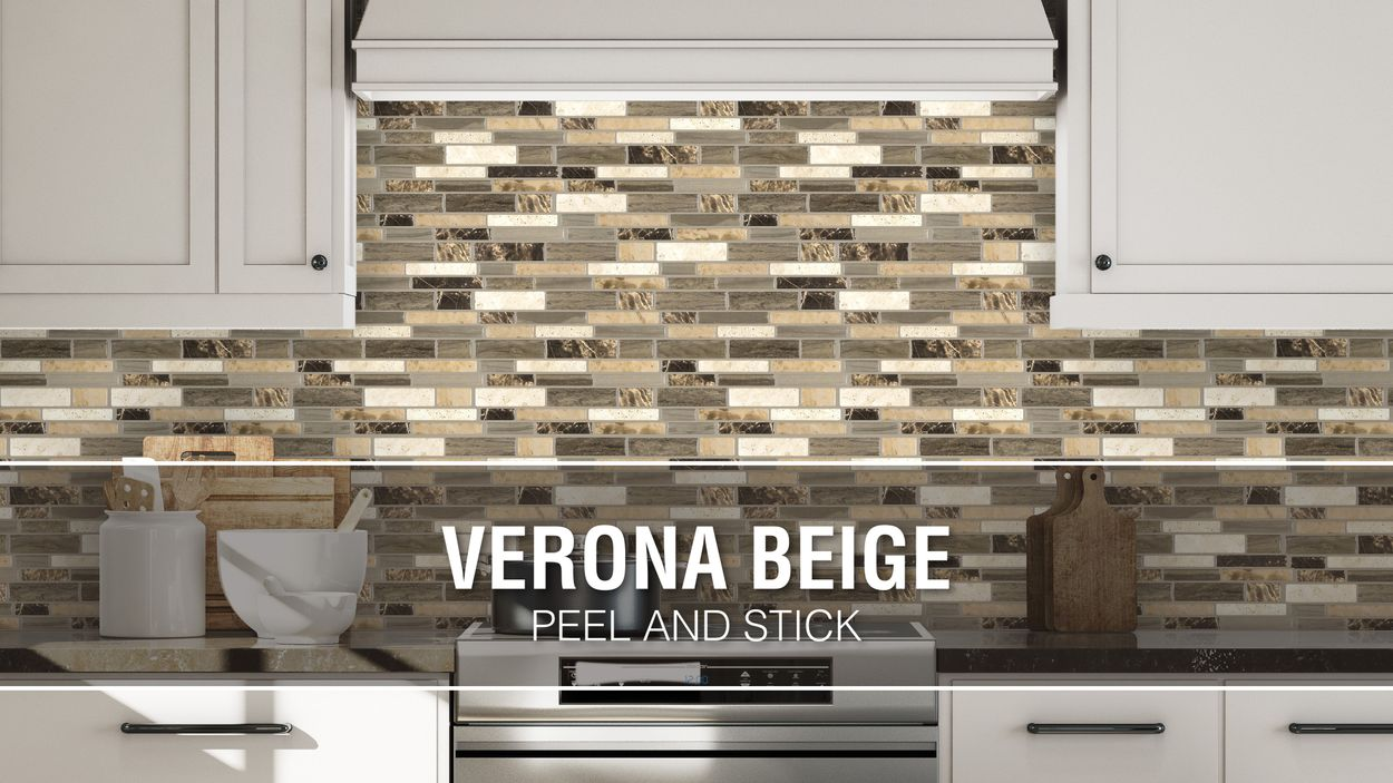 Peel Stick Mosaics Verona Beige 10 In X 10 In Glossy Composite Linear Peel Stick Wall Tile In The Tile Department At Lowes Com