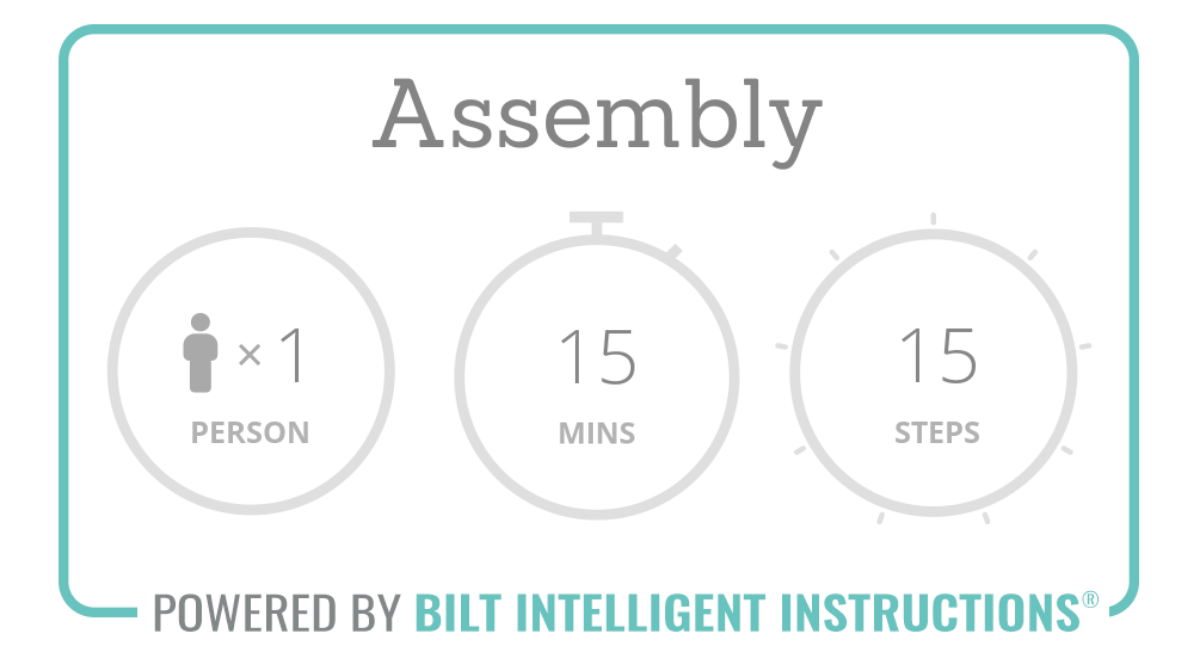 Assembly overview: 1 person recommended, 15 mins, 15 steps total