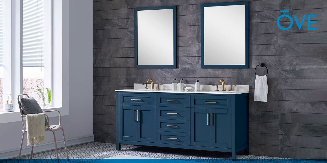 Ove Decors Tahoe 72 In Midnight Blue Double Sink Bathroom Vanity With White Cultured Marble Top Mirror Included In The Bathroom Vanities With Tops Department At Lowes Com