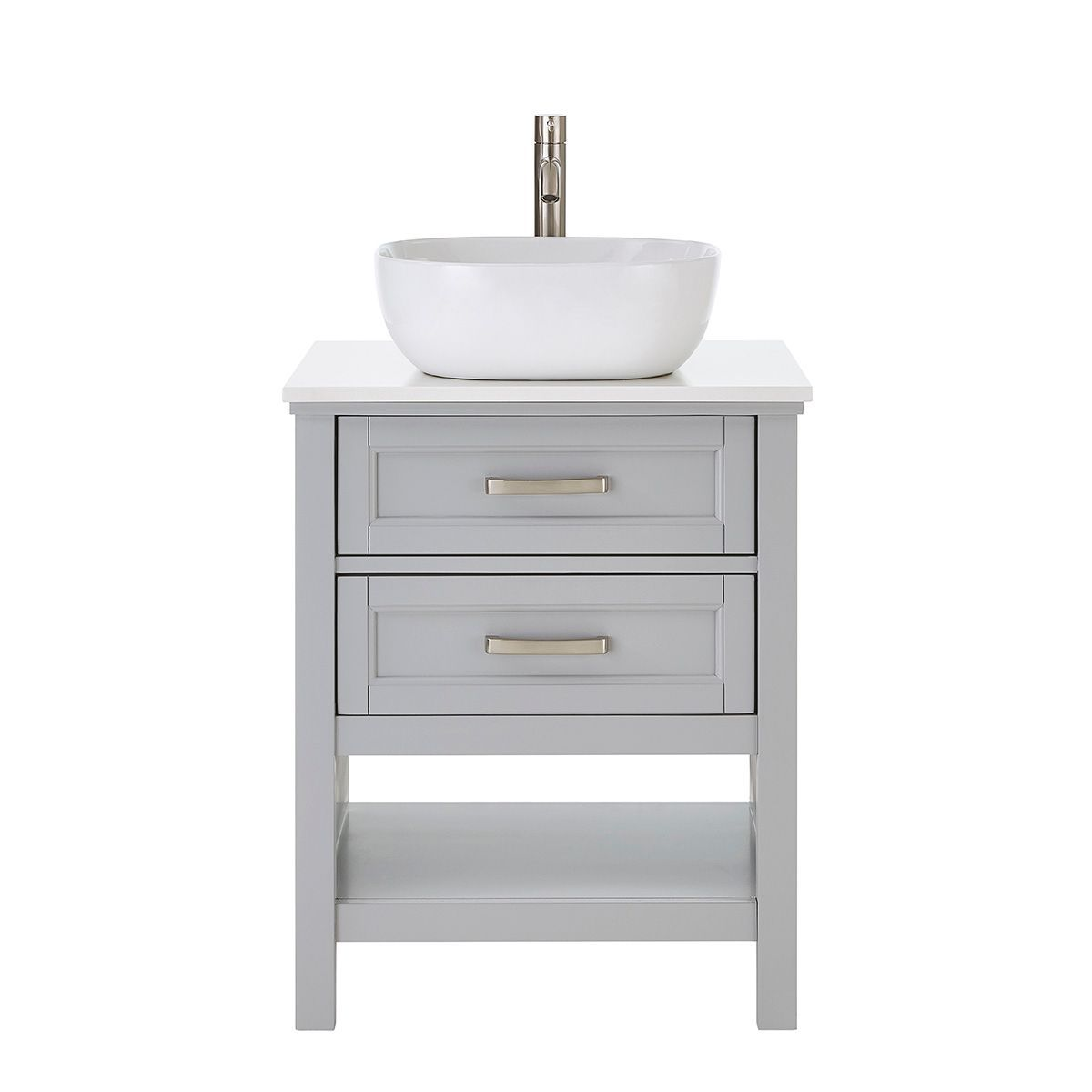 Style Selections Cromlee 24 In Light Gray Single Sink Bathroom Vanity With Engineered White Stone Engineered Stone Top Faucet Included In The Bathroom Vanities With Tops Department At Lowes Com
