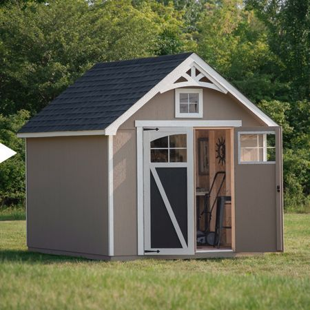 opened shed on lawn