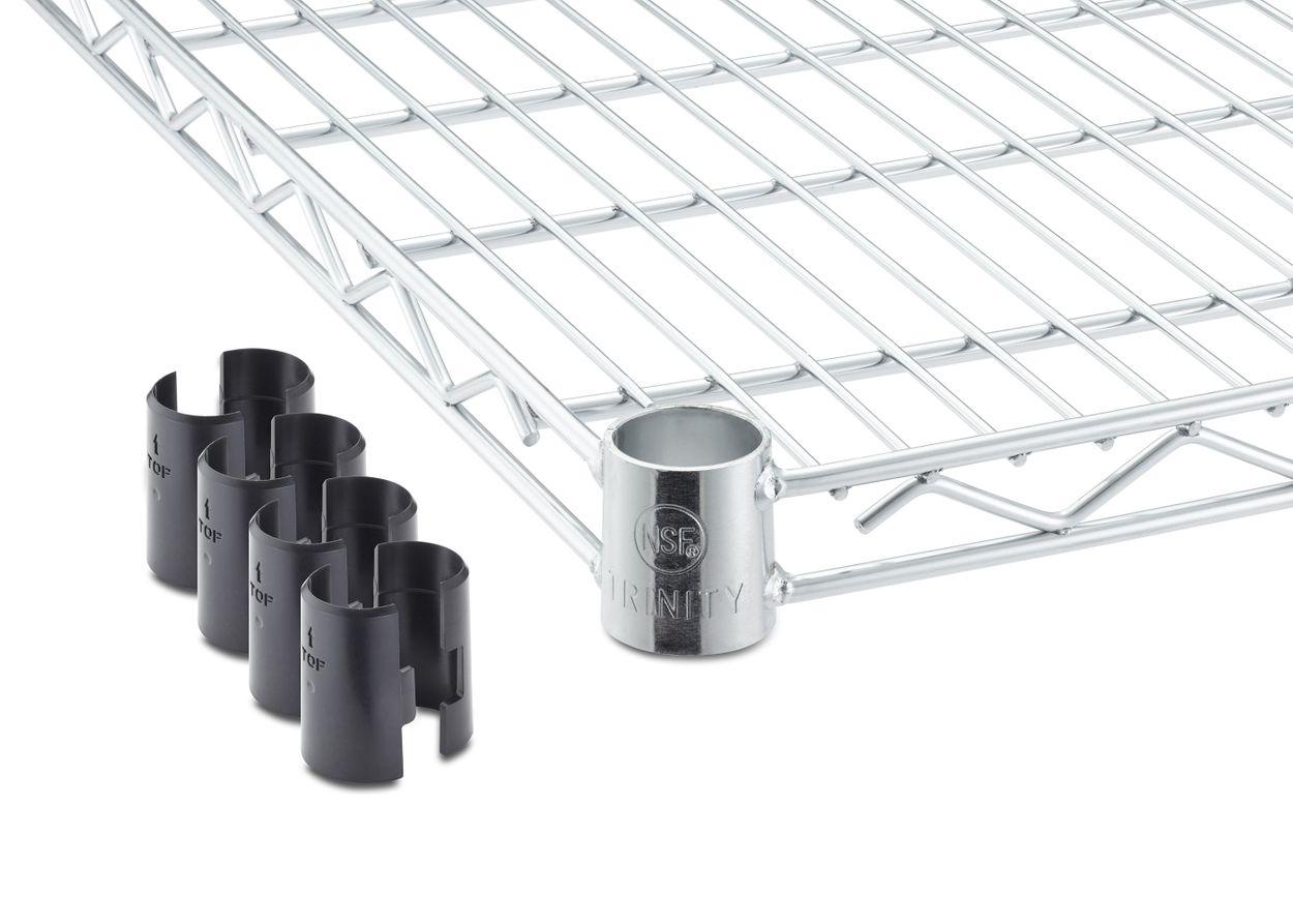 one ecostorage™ chrome shelf with a pair of slip sleeves