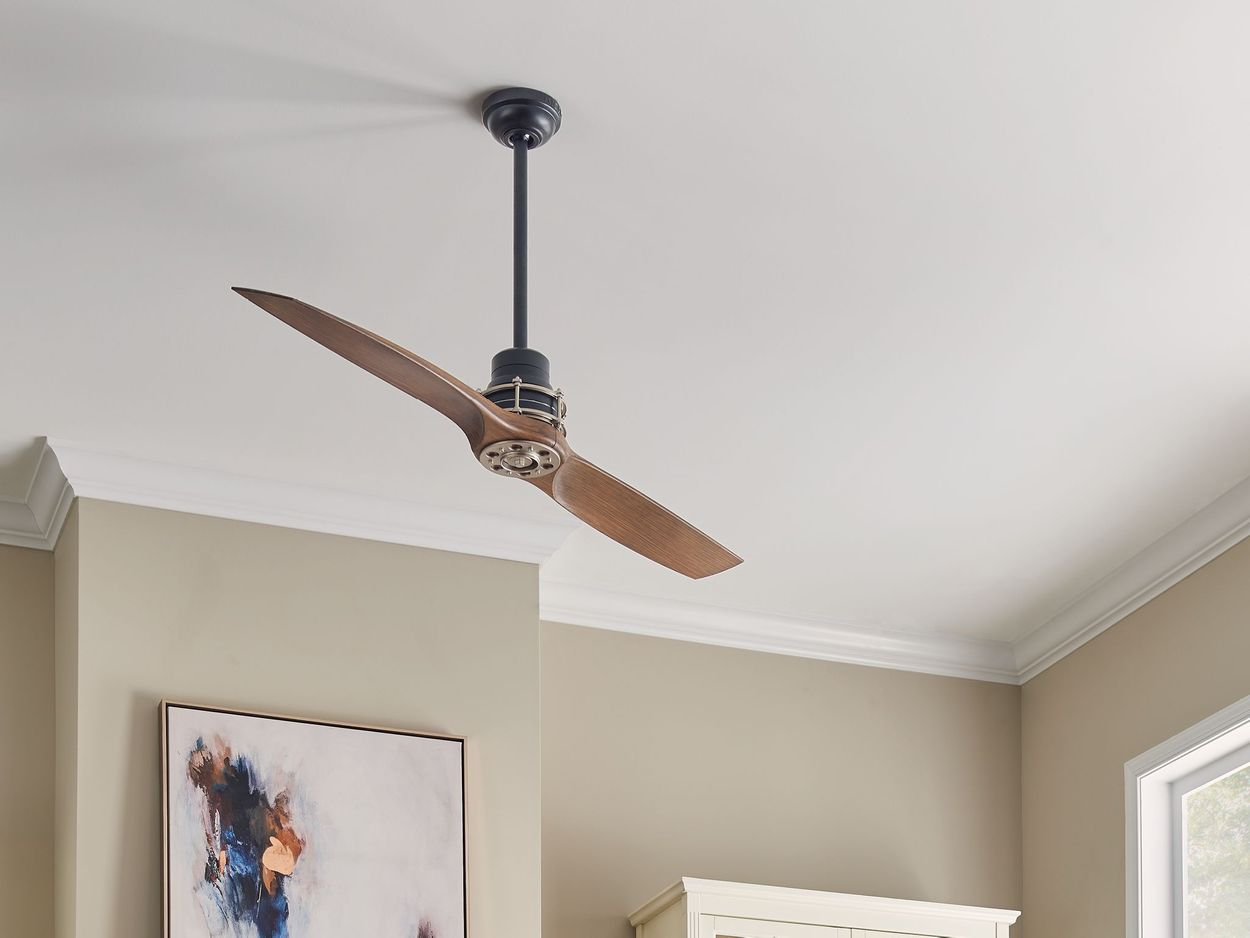 Image of: Kichler 56 In Satin Black With Antique Pewter Accents Indoor Ceiling Fan With Remote 2 Blade In The Ceiling Fans Department At Lowes Com