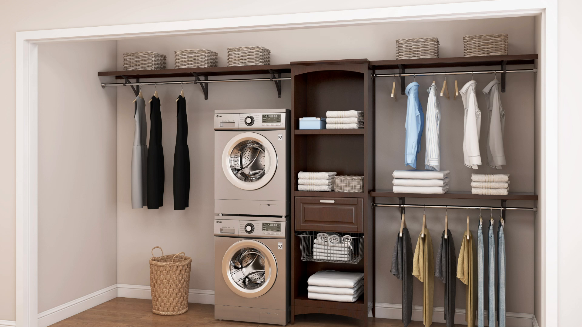 Picture of: Allen Roth 8 Ft W X 6 83 Ft H Java Wood Closet Kit In The Wood Closet Kits Department At Lowes Com