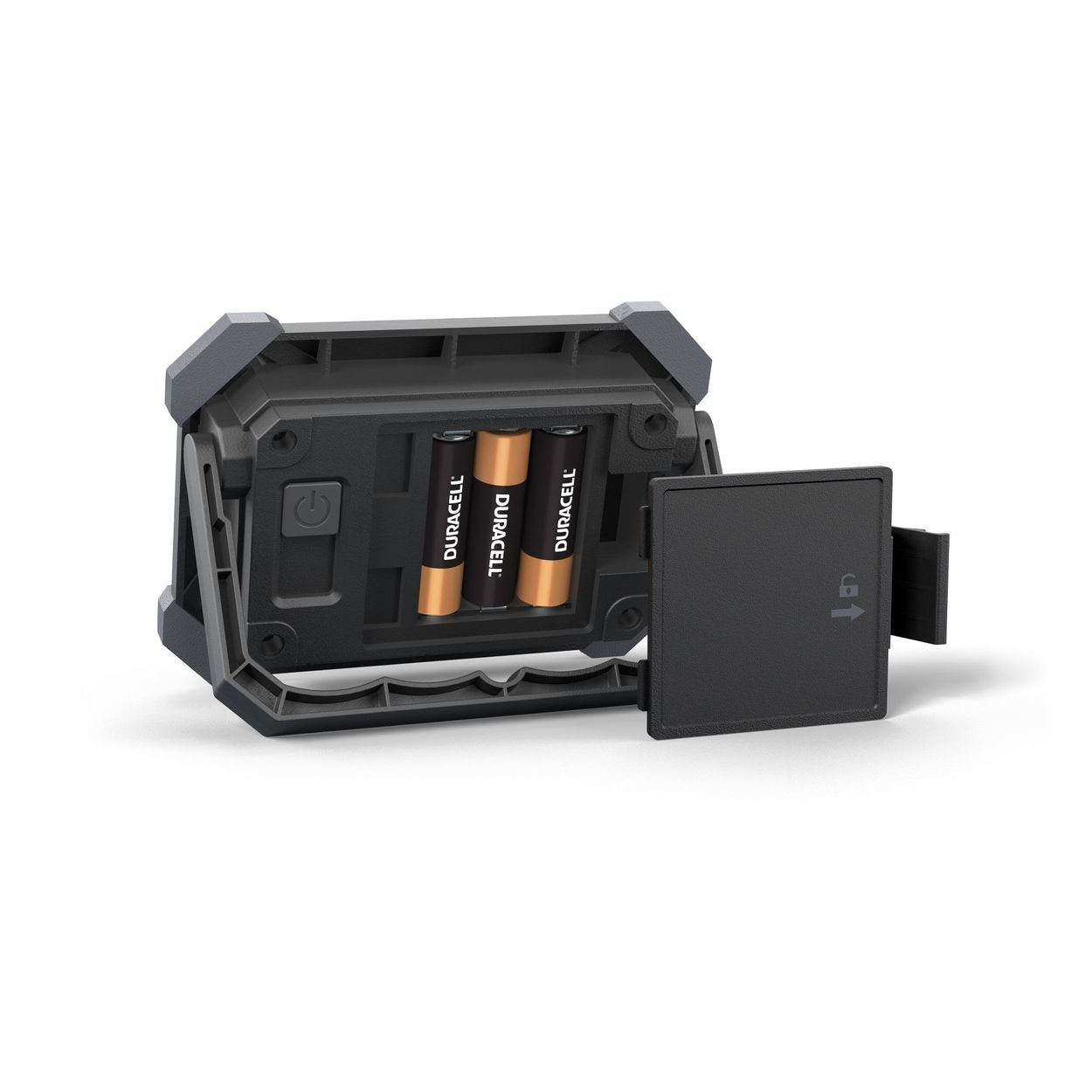 Image of the back of the worklight with battery compartment open showing Duracell batteries