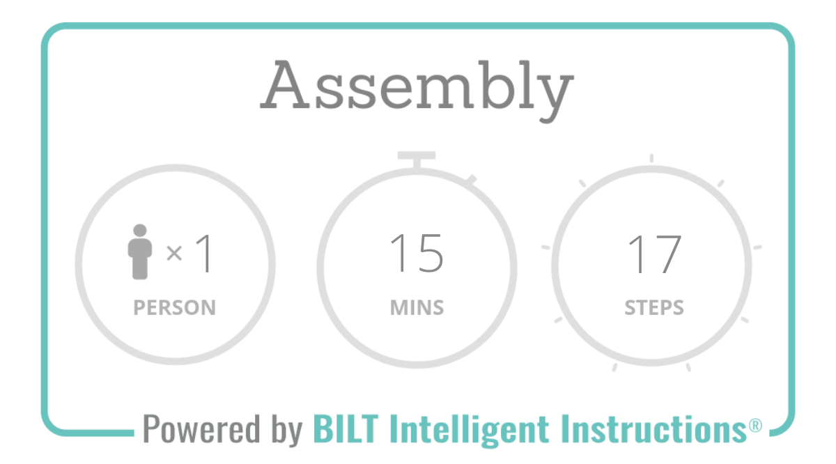 Assembly overview: 1 person needed, 15 mins assembly time, 17 steps total