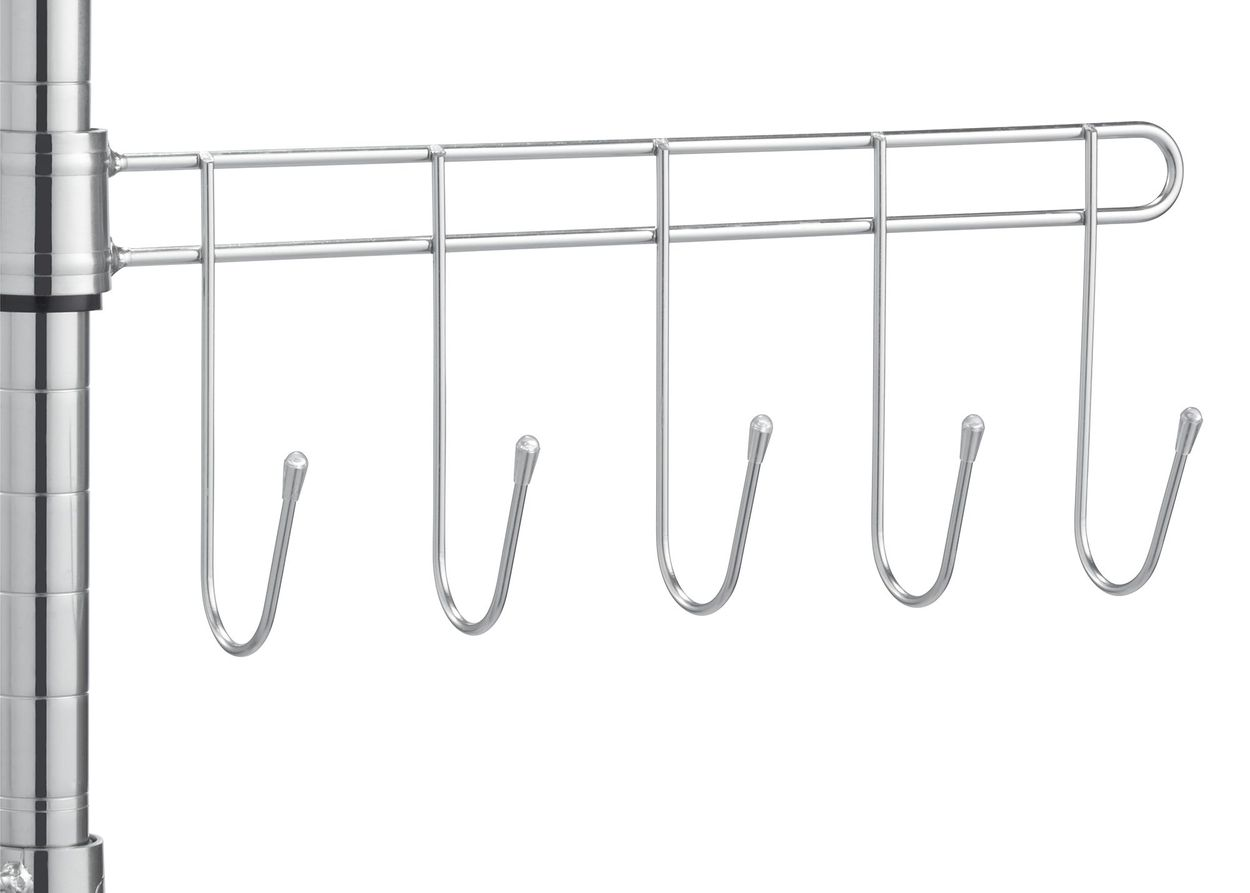 Sidebar with 5 hooks attached on the pole
