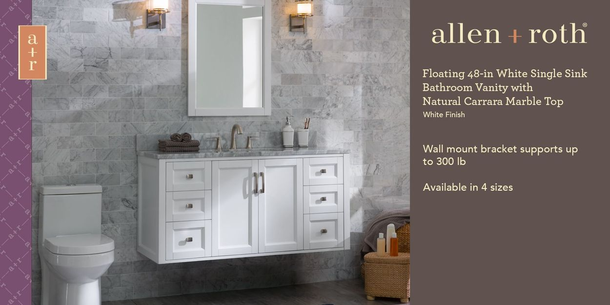 Allen Roth Floating 48 In White Single Sink Bathroom Vanity With Natural Carrara Marble Top In The Bathroom Vanities With Tops Department At Lowes Com