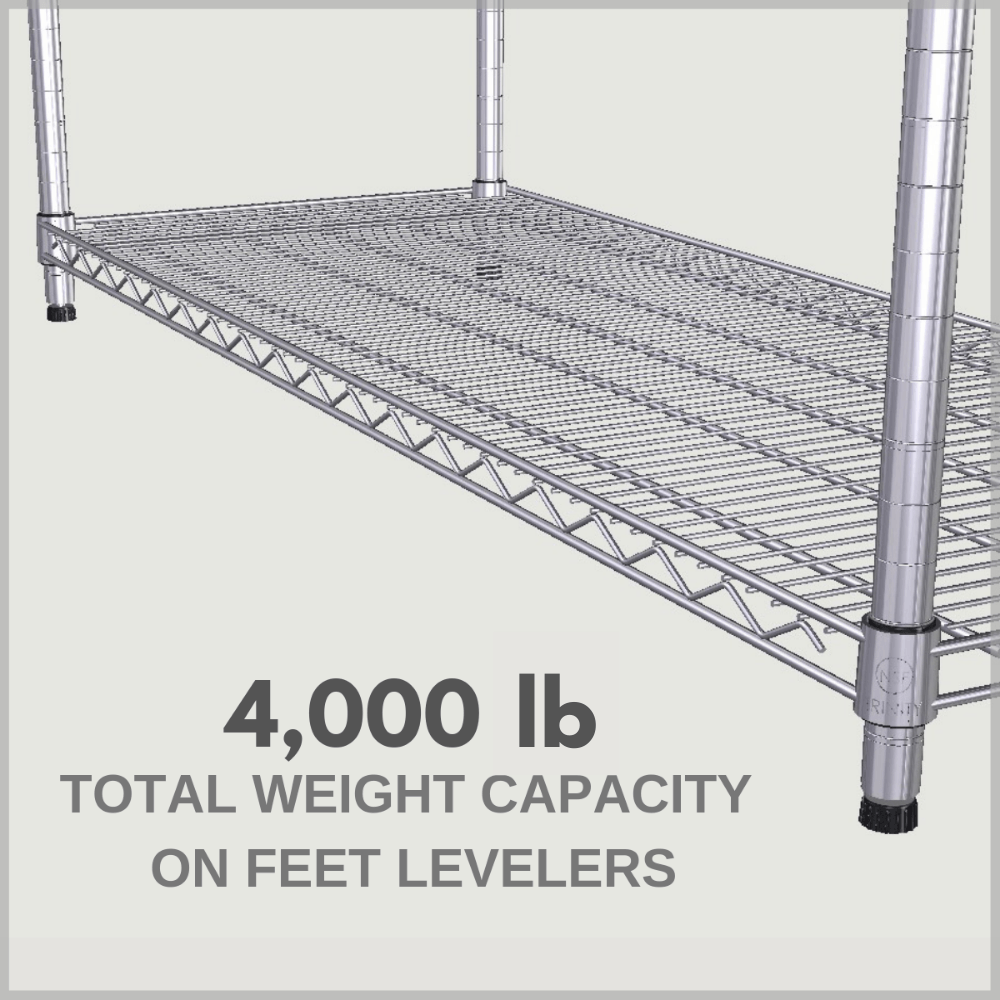 4,000 lb total weight capacity on feet levelers (evenly distributed)