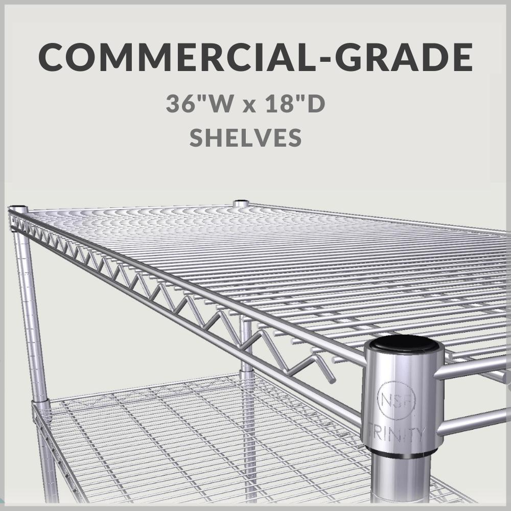 "Commercial-grade 36""W x 18""D shelves"