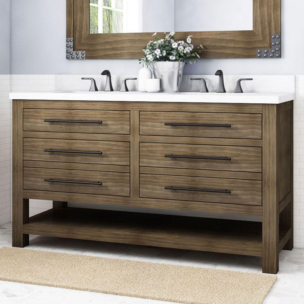 Allen Roth Kennilton 60 In Gray Oak Undermount Double Sink Bathroom Vanity With Gray Oak Engineered Stone Top In The Bathroom Vanities With Tops Department At Lowes Com