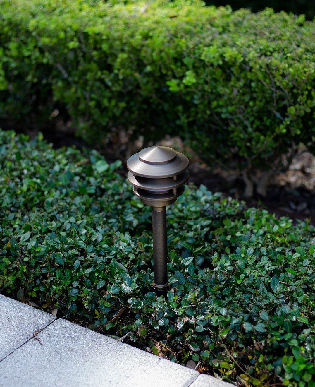 Volt Landscape Lighting 4 Pagoda Light Brass Led Expansion Kit