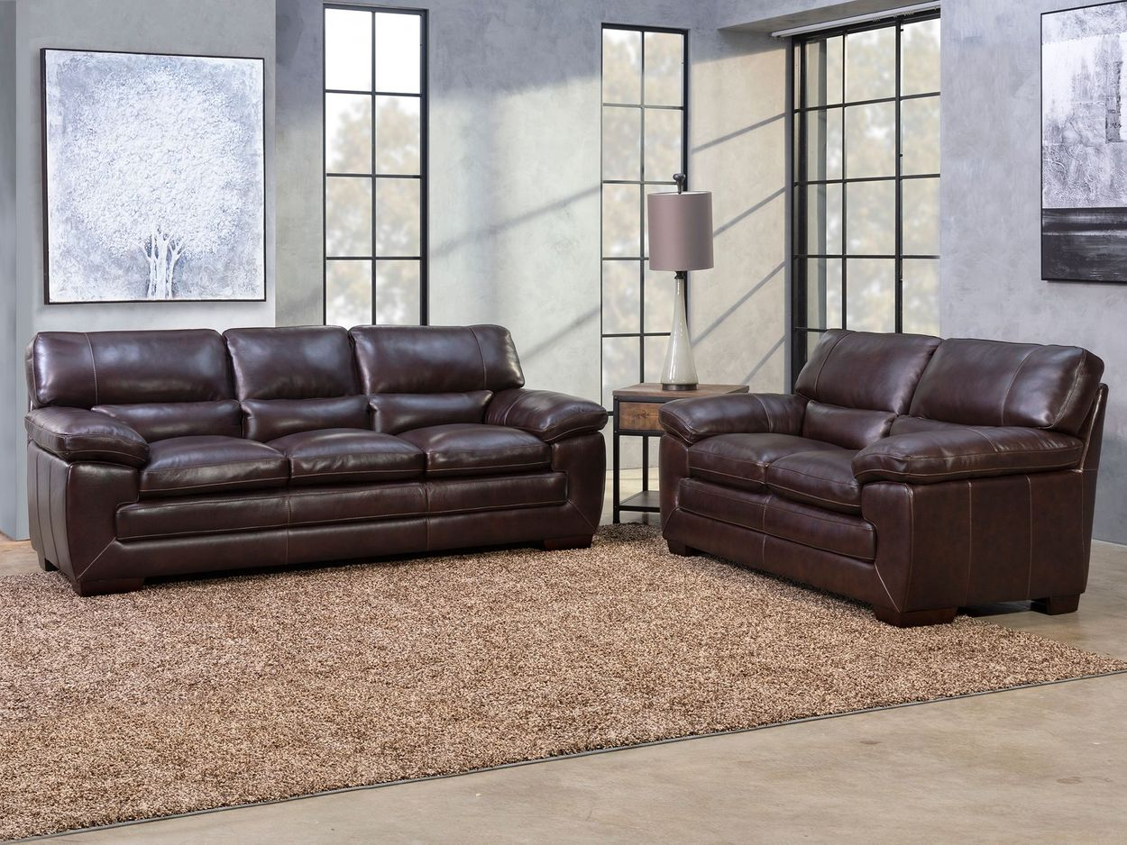 Picture of: Richland 2 Piece Brown Leather Sofa Loveseat Set