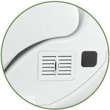 Close up shot of the bidet seat deodorizer vent located on the right side of the bidet