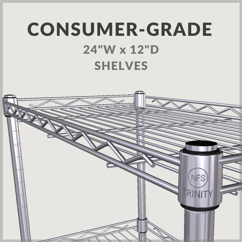 "Consumer grade 24""w x 12""D shelves"
