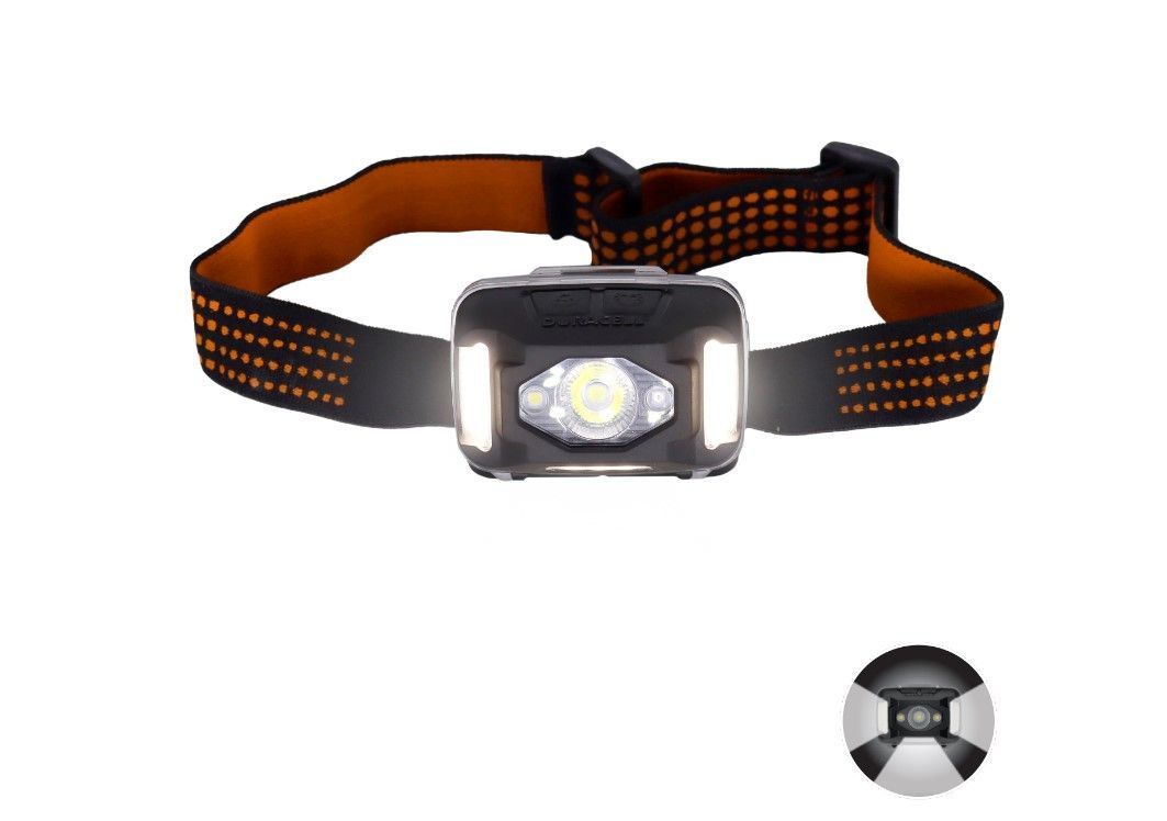 Image of front of headlamp showing the flood beam