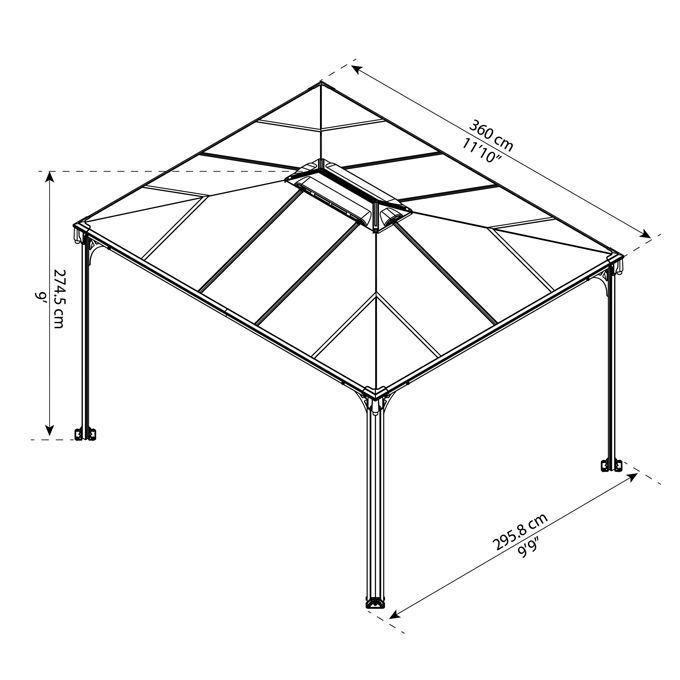 Assembled Dimensions- Martinique 3600 10 ft. x 12 ft Garden Gazebo