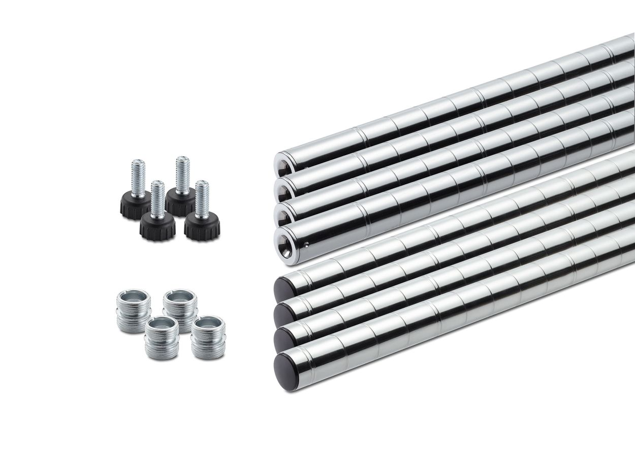 full sets of top and bottom poles with 4 set of feet levelers and pole connectors