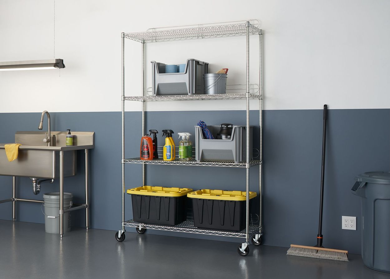 4-Tier Wire shelving with backstands used in garage setting