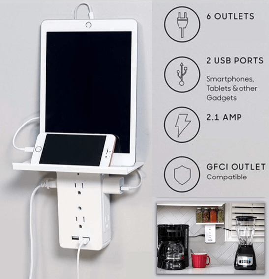 6 outlets 2 USB ports smartphones, tablets & other gadgets 2.1 AMP GFCI Outlet compatible