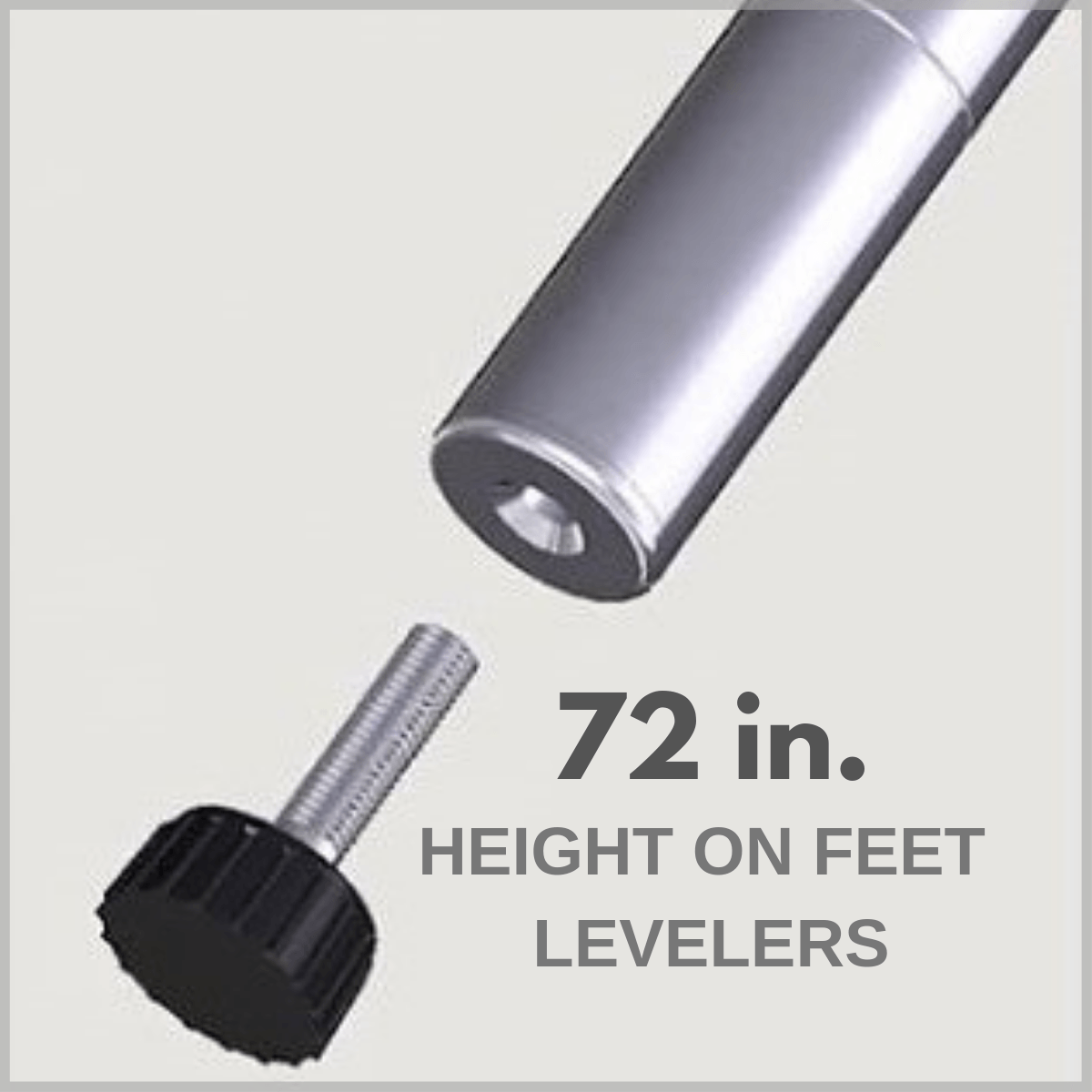 72 in. height on feet levelers