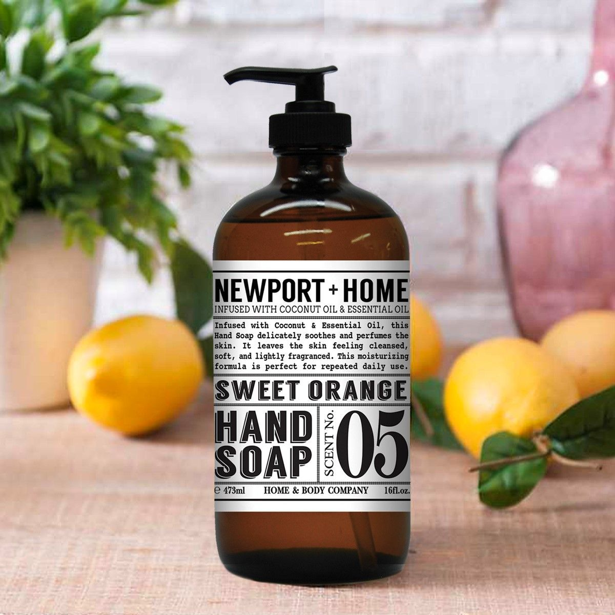 Newport hand soap bottle on table