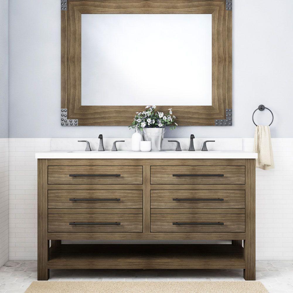 allen + roth Kennilton 20 in Gray Oak Undermount Double Sink Bathroom  Vanity with White Carrera Engineered Stone Top