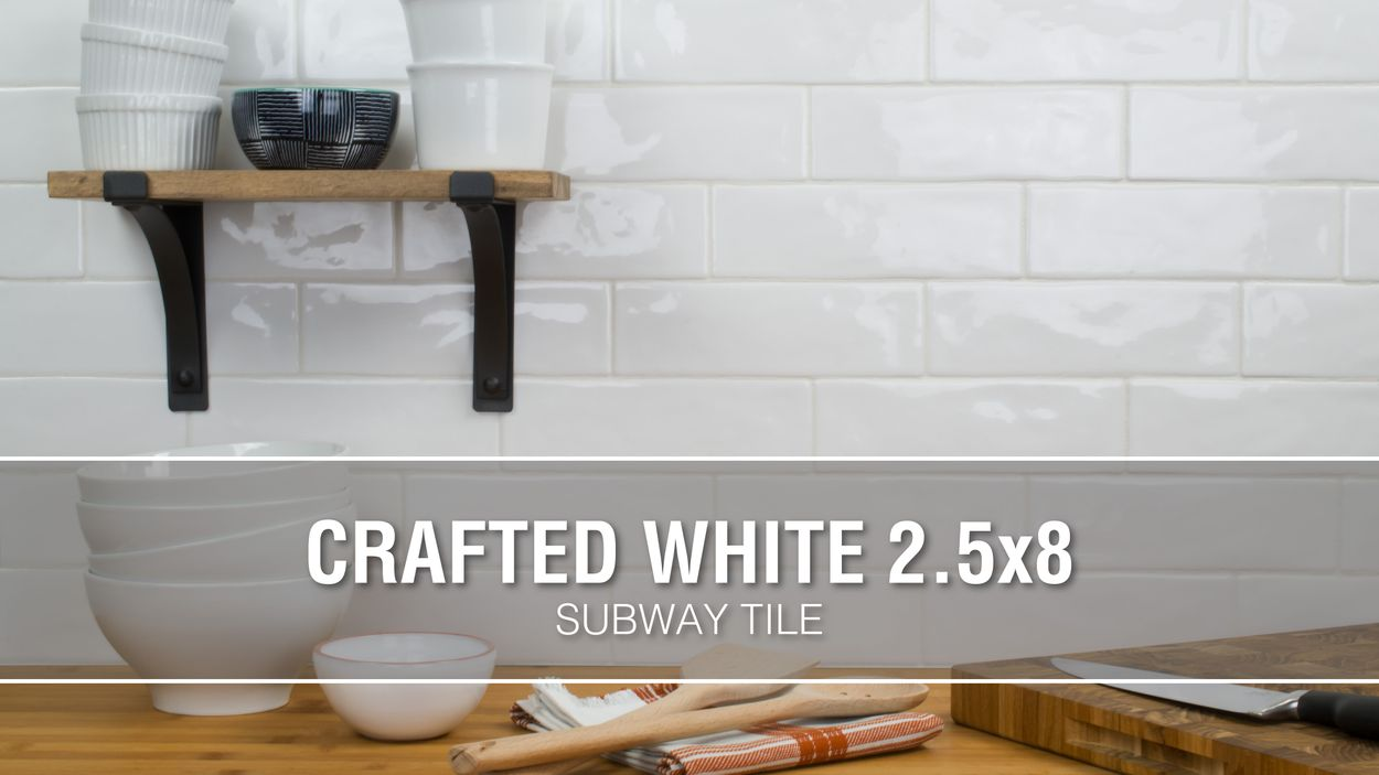 Boutique Ceramic Hand Crafted White 3 In X 8 In Glazed Ceramic Brick Subway Wall Tile In The Tile Department At Lowes Com