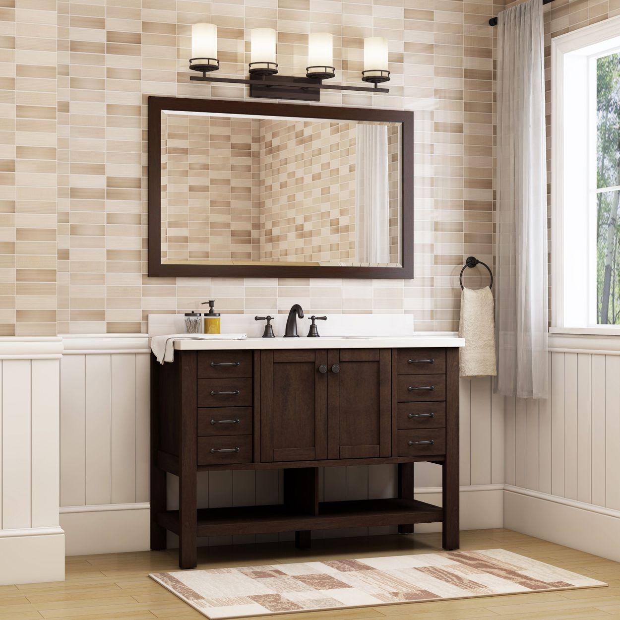 Allen Roth Kingscote 48 In Espresso Undermount Single Sink Bathroom Vanity With White Engineered Stone Top In The Bathroom Vanities With Tops Department At Lowes Com